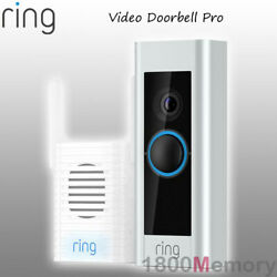 Ring Video Doorbell Pro 1080p Wireless Security Camera 2 Way Audio W/ Chime Pro