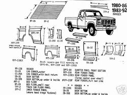 Ford Pickup Front Quarter Panel Section, Right 1980-1986 Schott