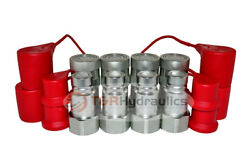 """4 Sets Of 3/4"""" Sae Thread Flat Face Couplers Skid Steer Bobcat Style W/dust Cap"""