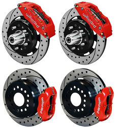 Wilwood Disc Brake Kit55-57 Chevy12 Drilled Rotors6/4 Piston Red Calipers
