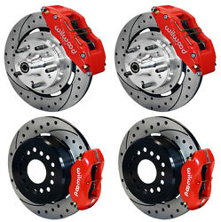 Wilwood Disc Brake Kit57-62 Corvette12 Drilled Rotors6/4 Piston Red Calipers