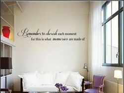 REMEMBER TO CHERISH Vinyl Wall Art Decal Words Lettering Sticker Home Decor 24quot;