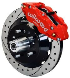 Wilwood Disc Brake Kit,front,65-69 Ford,mercury,13 Drilled Rotors,red Calipers
