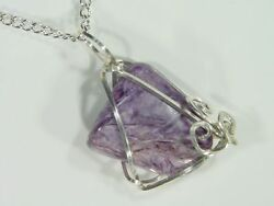 Butw Sterling Silver Hammered Wire Wrapped Russian Charoite 4.2gr Necklace 4874d