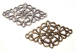1748 Antique Brass Sterling Silver Filigree Stamping Link Charm Pendant Made Usa