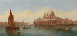 Art Oil Painting Cityscape Venice Sail Boats Canoes With Church Canvas 36