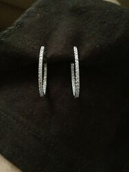 Diamond Oval Inside-out Hoops In 14k White Gold .50ct Tw
