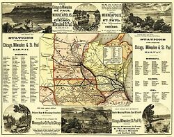 Chicago, Milwaukee and St Paul Railroad - 1874 - 23 x 29