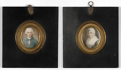 Portraits Of James And Elisabeth Neale, Anglo-american School, Two Miniatures