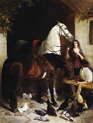Oil Painting Herring John Frederick Jr Feeding The Arab Couple And Horse Poultry
