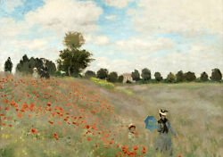 Art Oil Painting Monet - Poppy Fields Young Lady With Child In Summer Landscape
