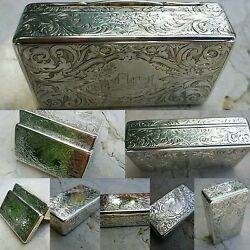 Rare Castle Top Snuff Box, Rawlings And Summers, Sterling Silver Snuff Box,