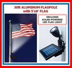 30ft Flagpole One Pc. Commercial Aluminum Pole W Solal Flag Light And 5' X 8' Flag