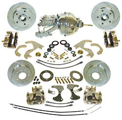 1955-57 Chevy Front Zero Off-set Front And Rear Disc Brake Kit With Booster Combo