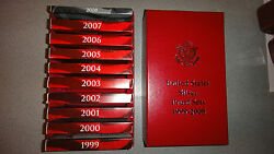 1999-2008 Complete Silver Proof Sets With Boxes Coaand039s And Bonus Storage Box