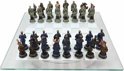 Civil War Yankee North Against South Rebels Chess Pieces And Glass Board Set