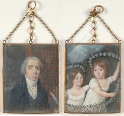 Two-sided Locket With Two Family Miniature Portraits French School 1790/1800
