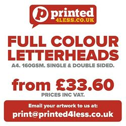 Letterheads A4 Printed Full Colour 160gsm Quality Bond Paper Single Stationery