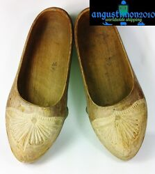 Vintage Handcarved Hand Made Shoes Wooden Wood From North Spain Folk