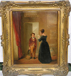 1872 Listed British Oil Painting, Thomas Webster Ra Birthday - Superb