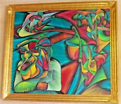 Large Original Colorful Artist Signed Abstract Oil On Canvas Dealer Or Reseller