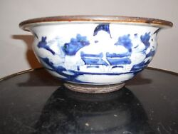 Antique Large Chinese Jardinere Hand Painted  Bowl