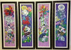 Four Songs Of Spring By Jiang Tie-feng. Chinese Serigraph On Canvas - Framed