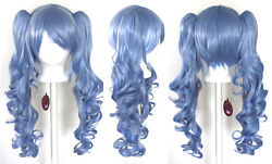 23'' Curly Pig Tails + Base Saxe Blue Cosplay Wig NEW