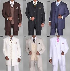 Menand039s Zoot Suit3 Piece With Matching Vest Brown White Black 38r56l 35and039and039 Length