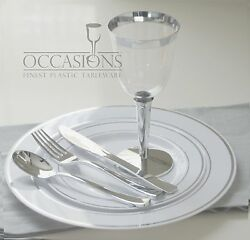 Wedding Party Disposable Plastic Plates And Cutlery And Wine Cups W/ Silver Rim