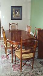 Colonial Cherry Dining Table, 11 Piece, With Hutch