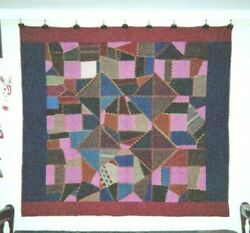 Abstract Crazy Quilt In Burgundy And Blue Border 68 X 74 Wools. Fancywork.
