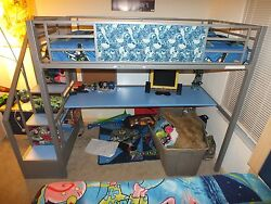 Blue And Gray Toy Story Bunk Bed With Disney Characters,desk,and Extra Things