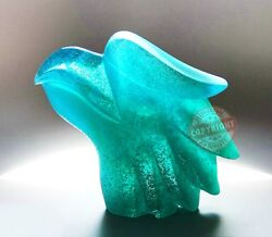 Daum Crystal Rare 7 Clear Turquose Quetzal Head Ltd 500 France Signed Box New