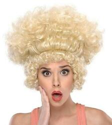 Shocked Ladies Big Blonde Curly Costume Wig Standing on End