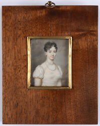 Portrait Of A Lady In White Gown Fine French Miniature 1810/15