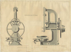 1849 Original Machine Tool Drawing Nasmyth Gaskell And Co. Manchester Superb