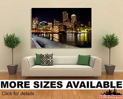 Wall Art Canvas Picture Print - Boston Skyline At Night 3.2