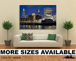 Wall Art Canvas Picture Print - Cleveland Cityscape At Night 3.2