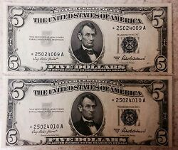 Lot Of 2 Silver Certificates Consecutive Star Note 1953a
