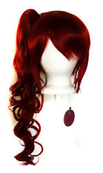23'' Curly Pony Tail + Base Crimson Red Cosplay Wig NEW
