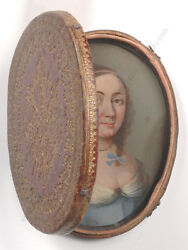 Traveling Case With Oil On Copper Miniature Portrait Of A Lady, French School