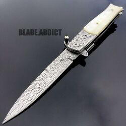 8.5 Damascus Classic Italian Stiletto Spring Open Assisted Pocket Knife Pearl