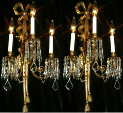 2 Classy Vintage Crystal Lamp Bow Sconces Rococo French Spain Gilt Bronze Brass