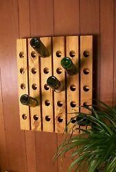 Riddling Wine Rack 30 Bottle Hand Crafted Wall Hanging Wine Rack