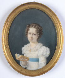 Alphonse De Labroue 1792-1863 Young Lady With Book, Fine Miniature, 1820/25