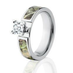Official Licensed Realtree Ap Green Cobalt Engagment Camo Ring W/ 1 Ct Cz