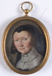 Lady From Stuttgart Family Von Faber, German Oil On Copper Miniature, 17th C.