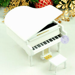 White Wooden Piano Music Box With Sankyo Musical Movement 50 Tunes Option