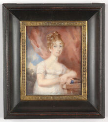 Portrait Of A Lady In White Gown, Fine English Miniature, Ca. 1810
